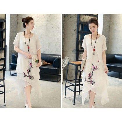 Floral Print Attached White Shrug Dress - Dell's World