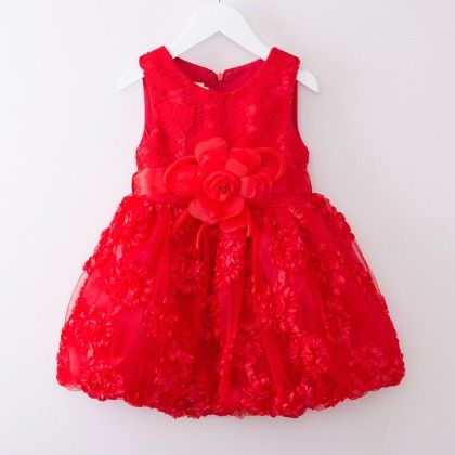 Red Floral Bow Tutu Dress Children Birthday Party Wear - Tulip