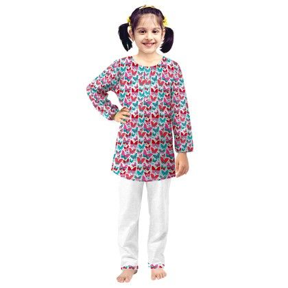Pink Butterfly Printed Kurta & Pajama Set - Oranges And Lemons