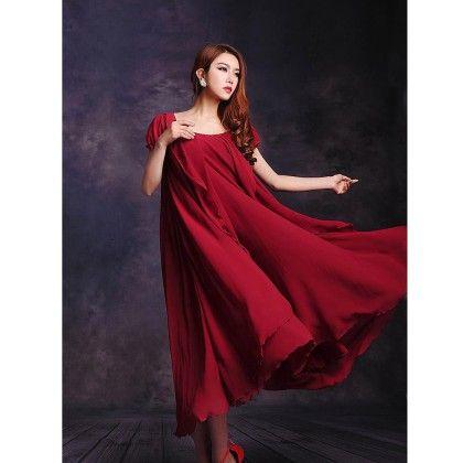 Party Evening Chiffon Dress  - Wine Red - STUPA FASHION