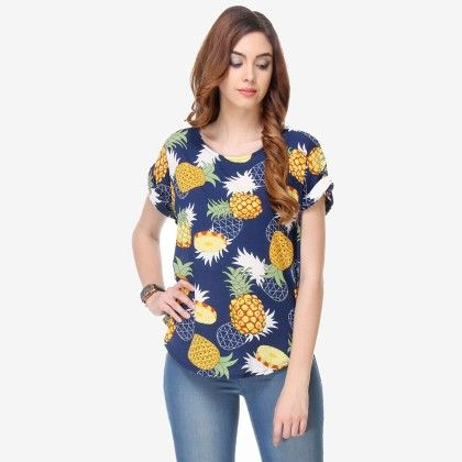 Multi Colored Crepe Printed Top - Varanga - 325718