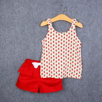 Cute Cherry Print Top And Shorts Set - Red