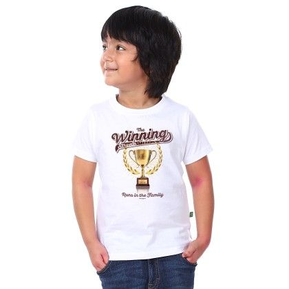 Boy's The Winning Print White T-shirt - BonOrganik