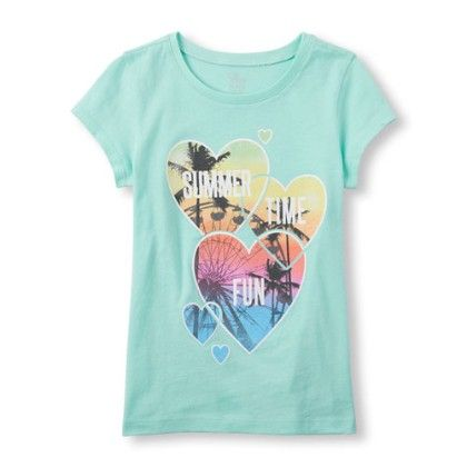 Girls Short Sleeve Summer Time Fun Hearts Graphic Tee - The Children's Place
