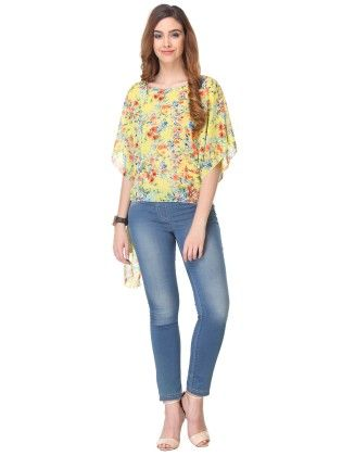 Printed Chiffon Yellow Top - Varanga