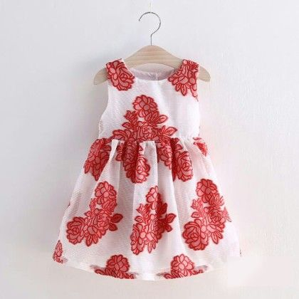 Red Flower Print Party Wear Frock - Lil Mantra