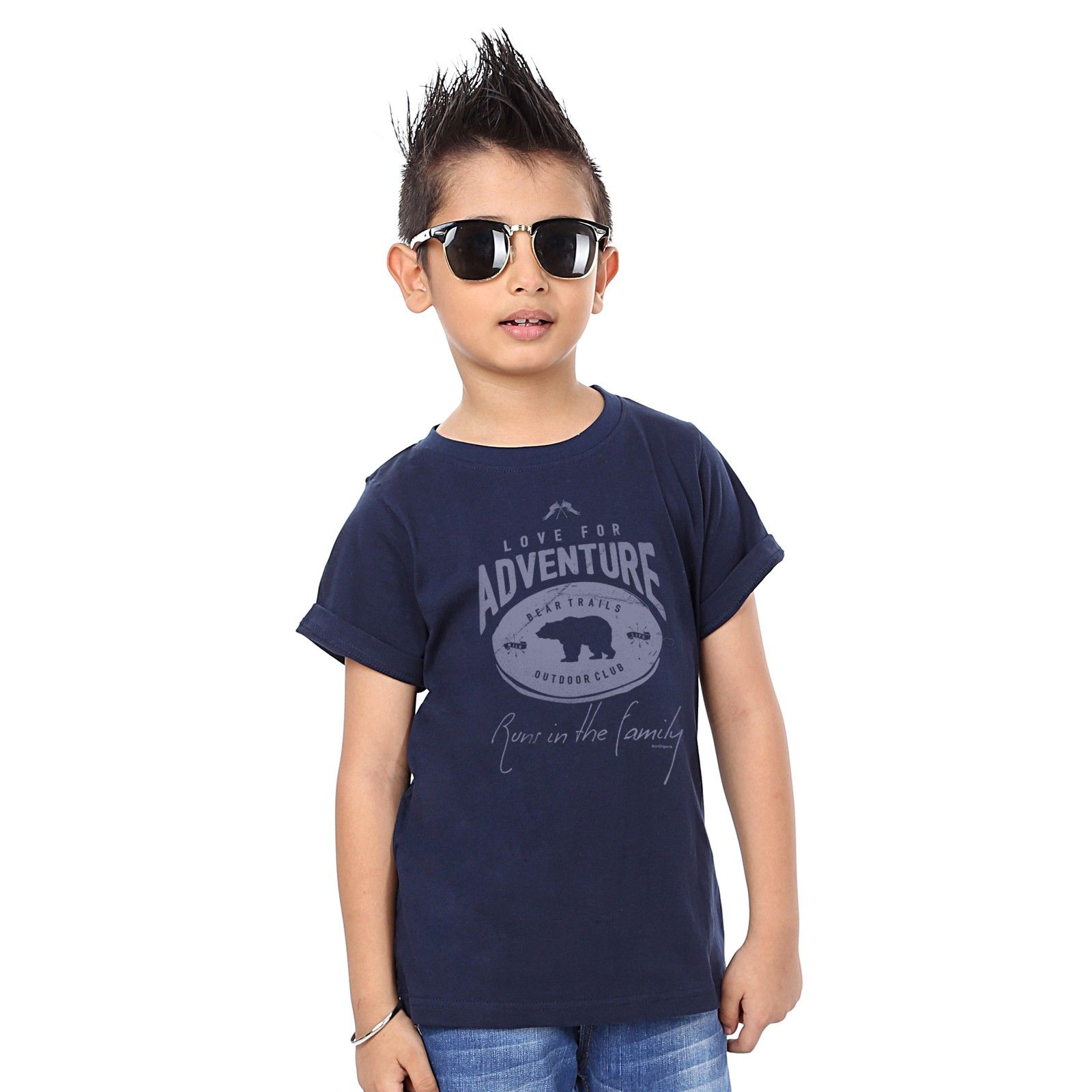 Boy's Love For Adventure Print Navy T-shirt - BonOrganik