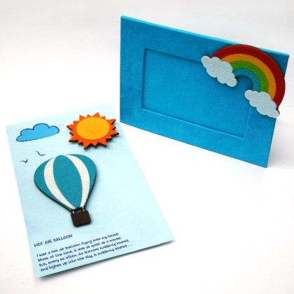 Combo Rainbow Diary With Hot Air Balloon Fridge Magnet - Two For Joy