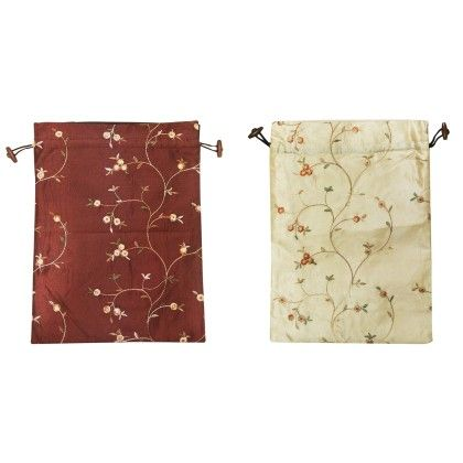 Wrapables Beautiful Embroidered Silk Travel-bag For Shoes Assorted 1 Unit