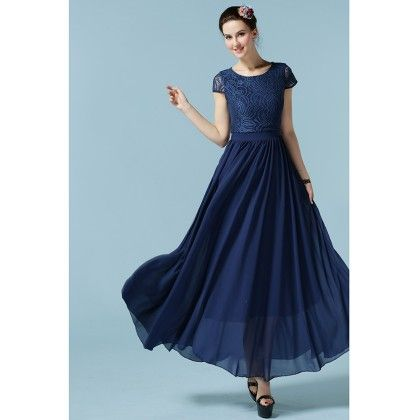 Blue Colored Flared Maxi Dress - STUPA FASHION