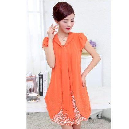 Casual Dress Ladies Female Print Floral Dresse - Orange - STUPA FASHION