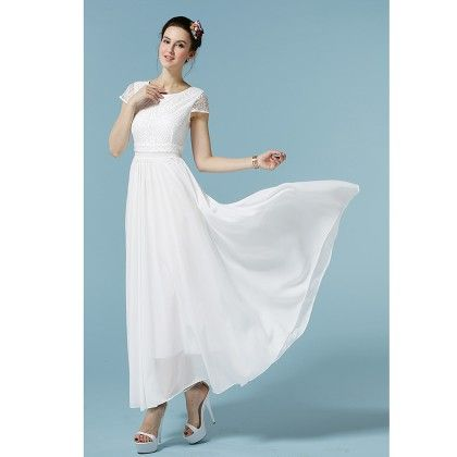 White Colored Flared Maxi Dress - STUPA FASHION