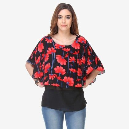Multi Colored Crepe Printed Top - Varanga