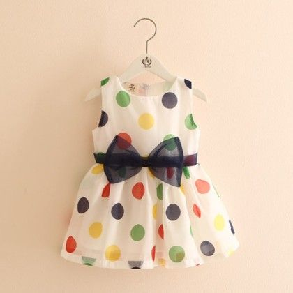 Cute Polka Printed Dress With Bow - Mauve Collection