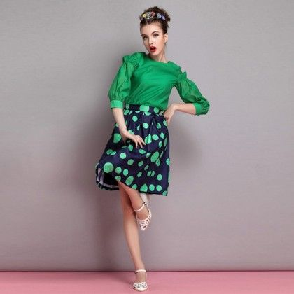 Beautiful Puff Sleeves Green Top - Mauve Collection