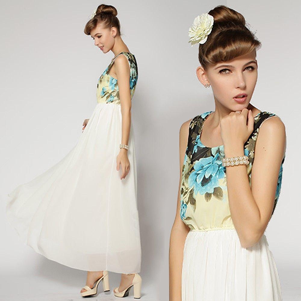 Women Flower Printed Patchwork Maxi Dress - STUPA FASHION - 340417