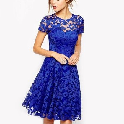 Lace Flare Bodycon Short Mini Dress - Blue - STUPA FASHION