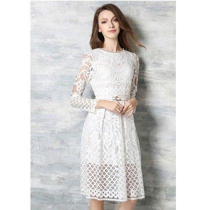 Lace Party Dress - White - STUPA FASHION