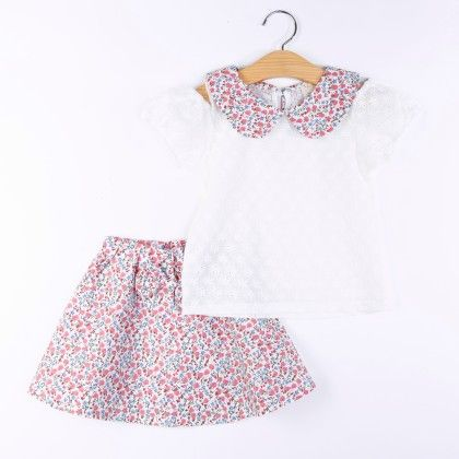 Beautiful Printed Top And Skirt Set - Pink - H