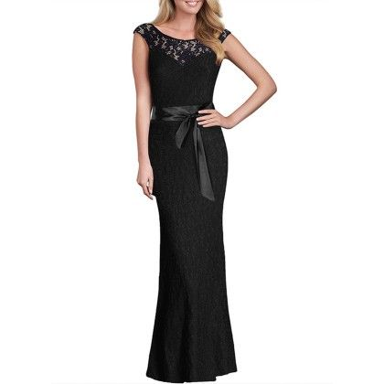 Summer Women Lace Long Dress - Black - STUPA FASHION