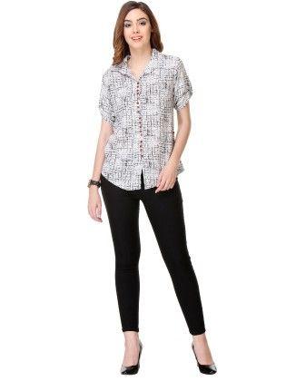 Printed Rayon White Shirt - Varanga