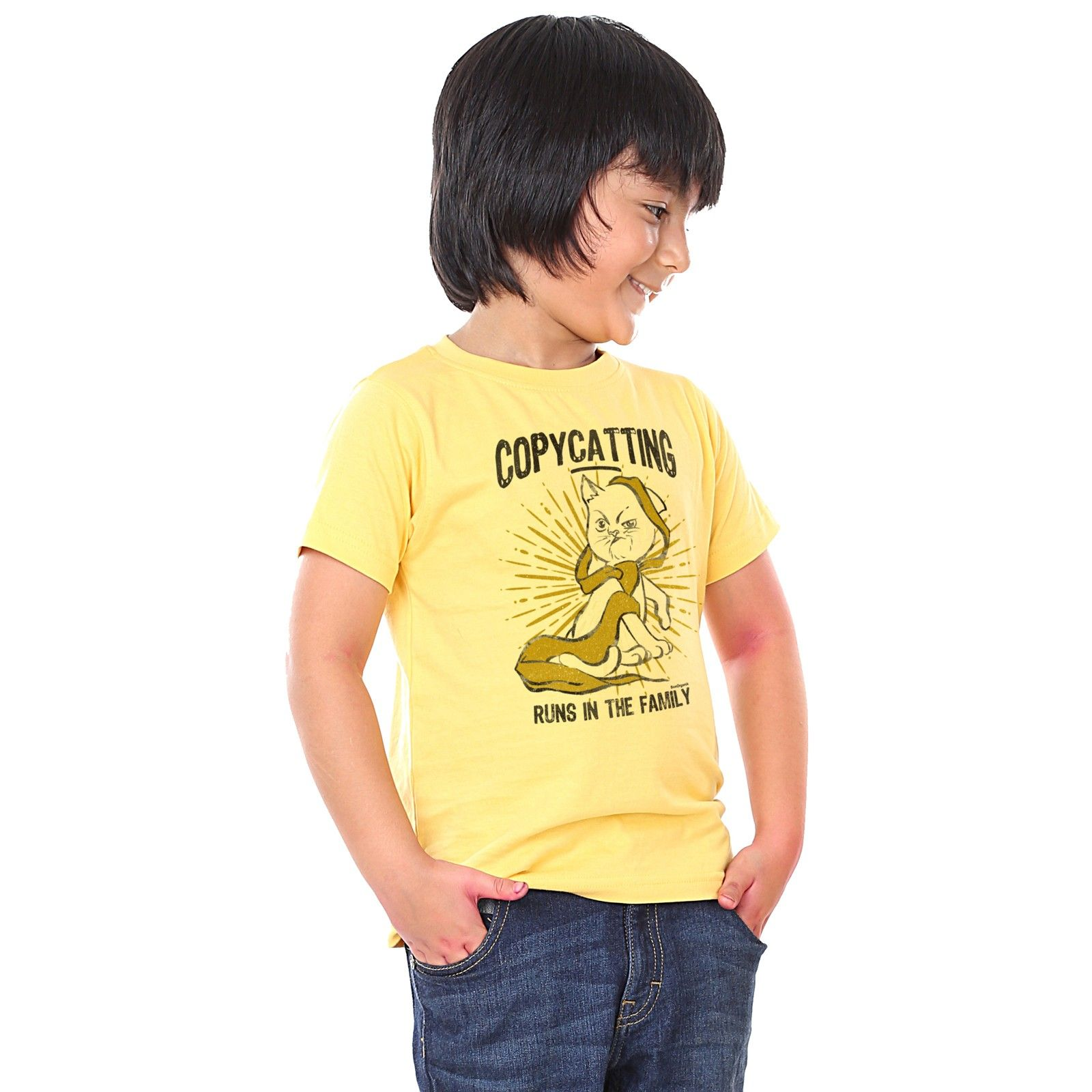 Boy's Copycatting Print Yellow T-shirt - BonOrganik