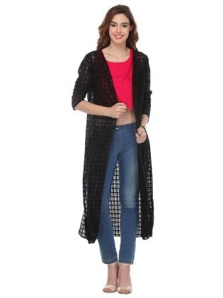 Solid Cotton Black Shrug - Varanga