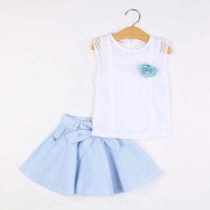 Beautiful Flower Applique Top And Skirt Set - Blue - Pink Whale