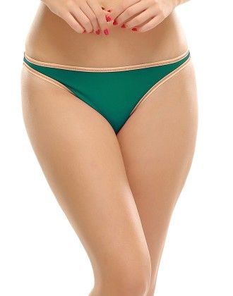 Clovia Bikini In Green With Contrast Trims
