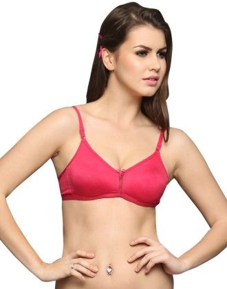Clovia Everyday Cotton Wirefree Nonpadded T Shirt Bra In Hotpink