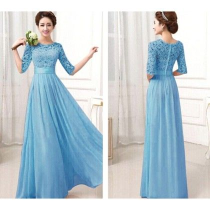 Blue Candy Colour Chiffon Lace Dress - Dell's World