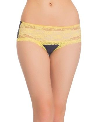 Clovia Polyamide With Spandex And Lace Hipster In Navy