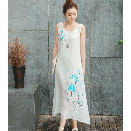 White Sleeveless Dress With Over Shrug - Dell's World