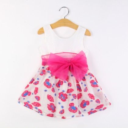 Cute Floral Print Dress With Sash Tie - Pink - Nublc