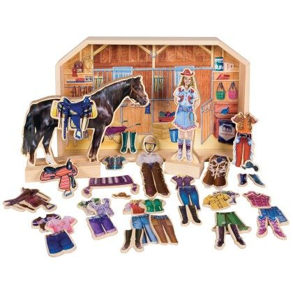 Stable Pals Becca And Beauty Wooden Magnetic Horse And Doll Dress - TS Shure