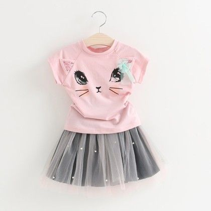 Pretty Shirt And Tutu Skirt Set Pink - Mauve Collection