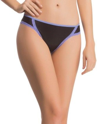 Clovia Polymide Spandex With Soft Lace Bikini Brief In Black