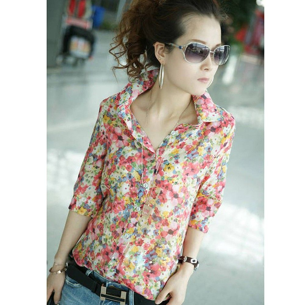 Stylish Retro Flower Pattern Slim Shirt - STUPA FASHION