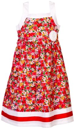 Printed Cotton Frock With Contrast Trims - Cupcake