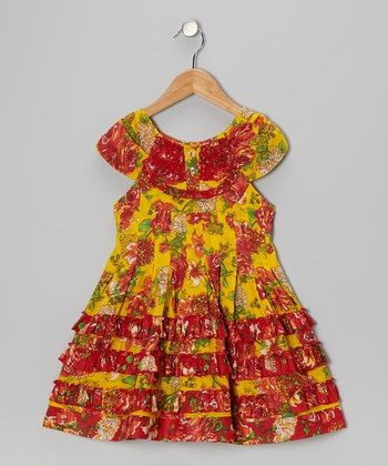 Yellow Printed Dress With Red Printed Frills - Yo Baby