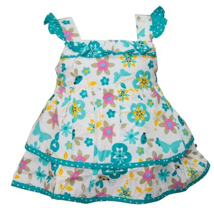 Butterfly Print Dress With Flutter Sleeves - Cupcake