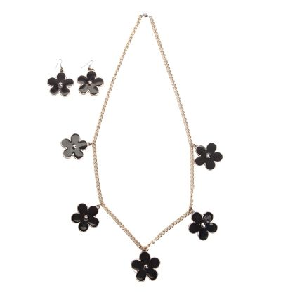 Black & Gold Floral Necklace Set - Cuddles Jewelry