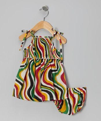 Printed Tie Up Dress With Smocking At Yoke - Yo Baby