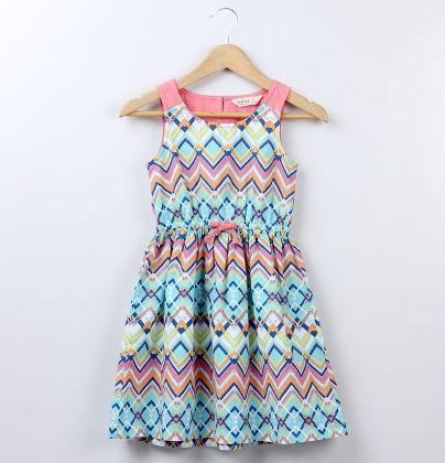Tribal Print Waist Bow Dress Multi-colored - Beebay