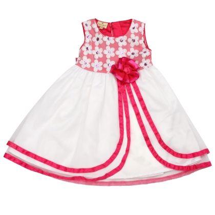 Princess White Dress With Pink Flower - Cupcake Celebrations