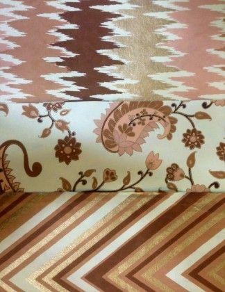 Designer Handmade Paper -peach/gold (set Of 3) - Le Papier