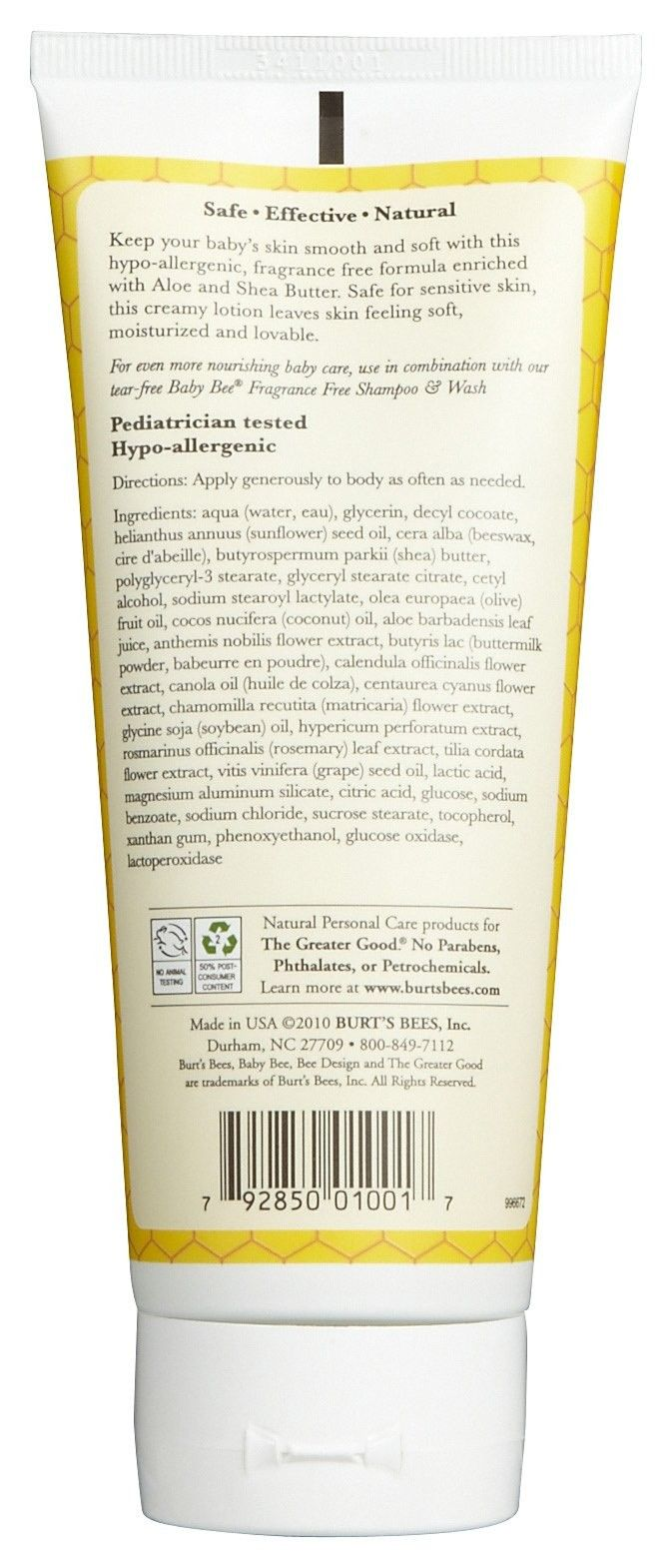 Burts Bees Lotion - Fragrance Free - 170 g