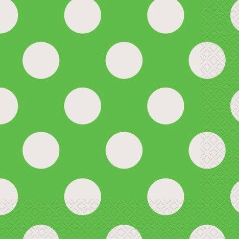 Lime Green Dots Lunch Naps - Set of 16Pcs