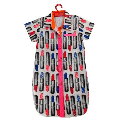 Lipstick Printed Tunic Shirts With Neon Pink Detailing - Shruti Jalan