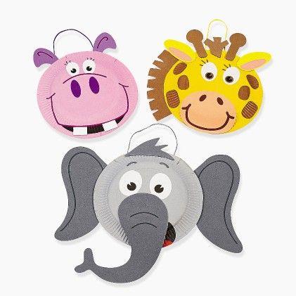 Paper Plate Zoo Animal Craft Kit - Set Of 12 - Hullabaloo